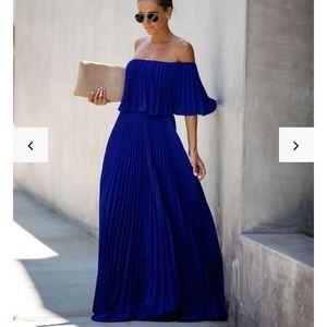 Royal blue maxi off shoulder dress worn once